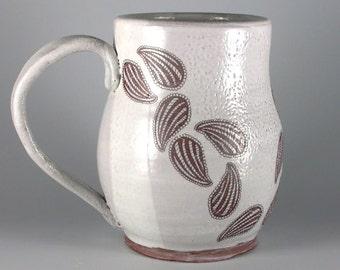 Paisleys Mug, White Stoneware Mug, Artisan Mugs, Handmade coffee cup, handmade mug, unusual mug, gift for him, gift for her, friend mug