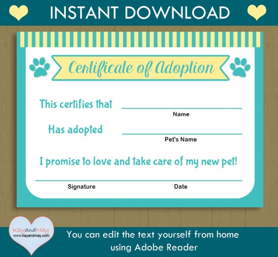 Pet adoption certificate instant download printable pet yadclub Gallery