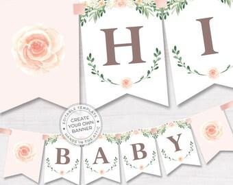 Floral baby shower banner, pink rose baby shower, bridal shower banner, spring celebration editable banner, DIGITAL download PDF