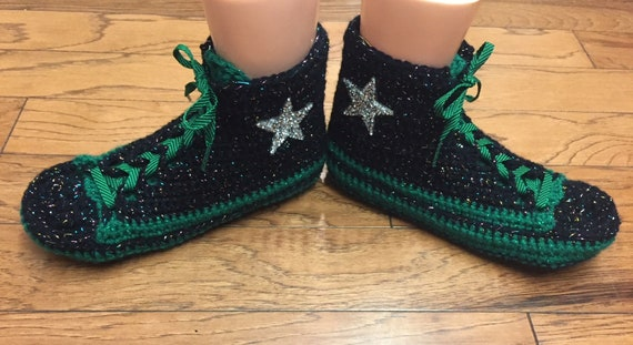 green inspired crocheted sneaker converse slippers shoe top crochet converse tennis 10 359 slippers high Womens Converse converse converse 8 BPFdqB