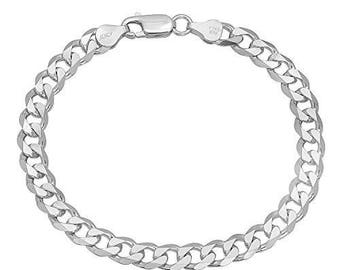 925 Sterling Silver Curb Link Chain Bracelet - 180 Gauge 7 mm - 8 inch/9 inch