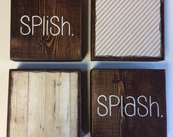 Bathroom Wall Decor | Set Of 4 - 5.5 x 5.5 in Wood Blocks| Splish Splash | Rustic Bathroom Wall Decor | Bath Decor