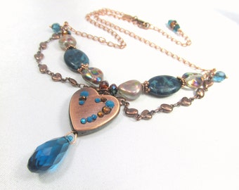 Copper Heart and Blue Teal Turquoise Crystal, Swarovski and Agate Double Strand Necklace