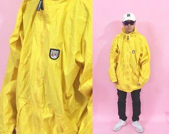 Vintage windbreaker reebok jacket reebok windbreaker yellow windbreaker 1990s 1980s 90s 80s tommy polo sport