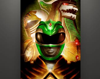"Power Rangers Inspired, ""Tommy"" 11X17 Art Print Green Ranger White Ranger Dragon Zord"