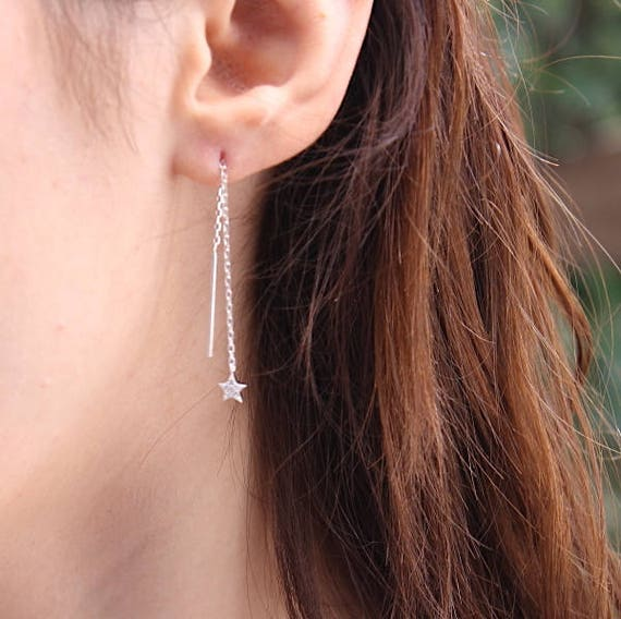 Earrings enlivened Star Silver 925 and zircons
