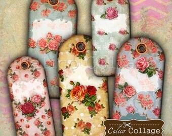 Vintage Rose Tags Digital Collage Sheet Printable Gift Tags Vintage Ephemera CalicoCollage Downloads Junk Journaling, Scrabooking, Vintage