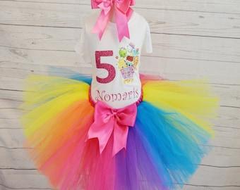 Shopkins birthday outfit,FREE SHIPPING,tutu outfit,birthday girl,Shopkins set,colorful tutu,colorful outfitt,Shopkins birthday tutu set