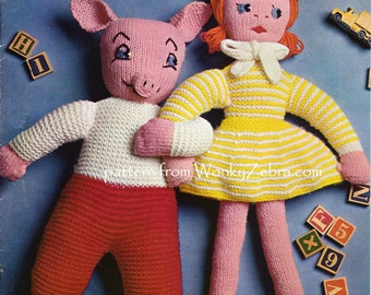 Vintage knit Toy Doll and Pig knit knitting Pattern Patterns PDF 585 from WonkyZebra