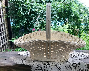 Vintage Creamy White Wooden Basket with Handle