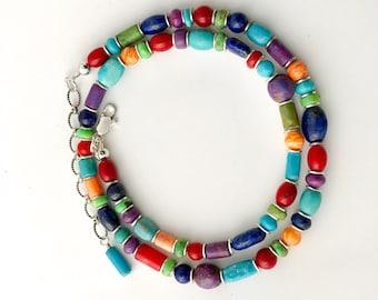 Southwestern Necklace, Indian Jewelry, gemstone necklace, multi stone necklace, turquoise necklace, southwest jewelry