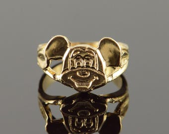 14k Mouse Face Big Ears Band Ring Gold