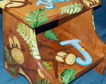 Custom Designed Jungle Monkey Wooden Step Stool