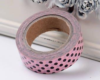 Washi Tape - Polka Dot Pattern - Pink/Black - Sold per roll