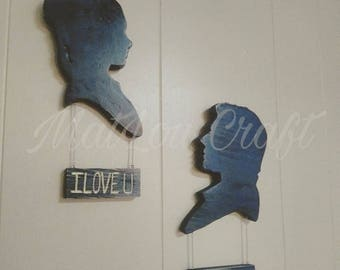 Star Wars inspired Leia and Han Solo Silhouettes wooden wall decor.