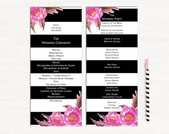 romantic wedding program template unique wedding programs pink