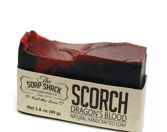 Dragons Blood Soap Cold processed Handmade Soap Activated Charcoal amber sandalwood myrrh and patchouli