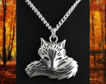 Sleeping Silver Fox Necklace // Fox Gift
