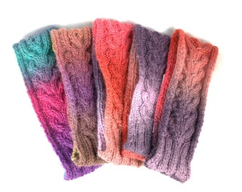 Hand Knit Wool Head Band multicolored cable