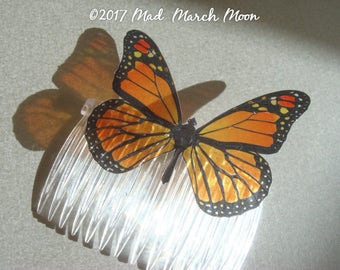 Monarch Butterfly Comb, transparent rich colour, handmade hair accessory single hair piece