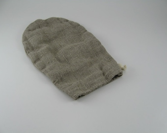 Handmade Linen Exfoliating Mitt / Face and Body Daily Exfoliating Mitt / Bath Mitt / Asymmetric Mitt --- Natural / Dye Free