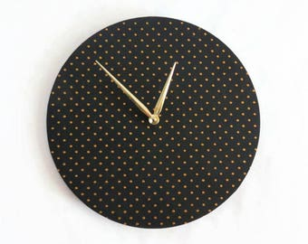 Large Wood Wall Clock, Modern Black and Gold Home Decor and Art