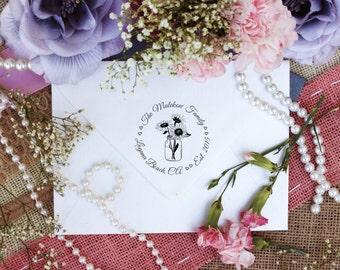 Custom Personalized Return Address Stamp, Rubber Wood Mount Clear Block Stamper, Sunflower Vase Round Address Stamp, Self Inking, Ink Pad