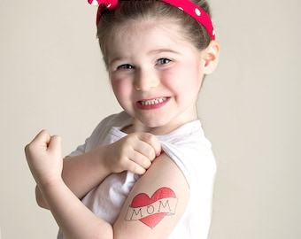 fake tattoo for kids mothers day gift for mom red heart tattoo photography supply children photoshoot prop mothers day present mum tattoo