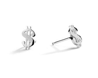 Dollar Sign Stud Earrings / Dollar Sign Earrings / Sterling Silver / 14k Gold over Silver