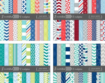 Boy Colors Digital Paper Backgrounds Printable Combo