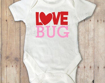 Valentine's Day Love Bug Bodysuit / First Valentine's Day / Personalized Baby Girl