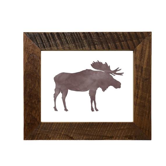 Moose Print 8X10 Rustic Reclaimed Barnwood Frame Easel Back