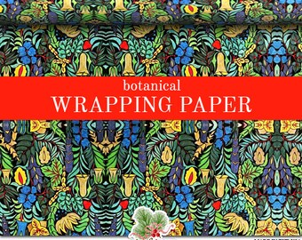 Botanical Wrapping Paper Roll | Colorful Botanical Abstract Vintage Pattern Gift Wrap In Two Sizes For Everyday Gift Giving..
