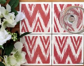 Table Coasters - Red Coasters - Coaster - Tile Coaster - Chevron Decor - Coasters for Drinks - Coasters Tile - Handmade Coasters