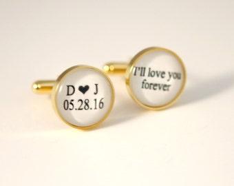 Gold Cuff links Groom Gift from Bride Groom Cufflinks Personalized Wedding Cufflinks Groomsmen Gift Personalized Wedding Cufflinks Custom