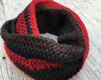 Red Deep Green Brown Knit Infinity Scarf