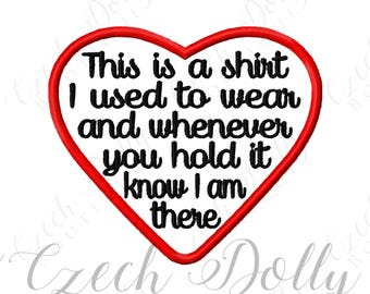 This is a shirt I used to wear Iron On or Sew On Heart Patch Memorial Memory Patch for Shirt Pillows - Embroidered Patches - Embroidery