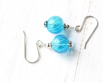 Turquoise blown glass earrings, Aqua blown glass earrings, Turquoise swirled glass earrings, Modern Vintage style, Turquoise and silver