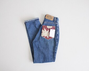 floral patchwork jeans | high waist denim jeans | floral jeans