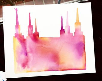 Handmade Watercolor Silhouette | Custom LDS Temple