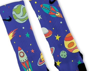 Custom Space Galaxy Night Nike Elites Socks