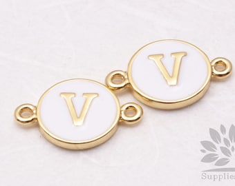 """IP004-G-V// Gold Plated White Epoxy Initial """"V"""" Round Pendant Connector, 2 pcs"""