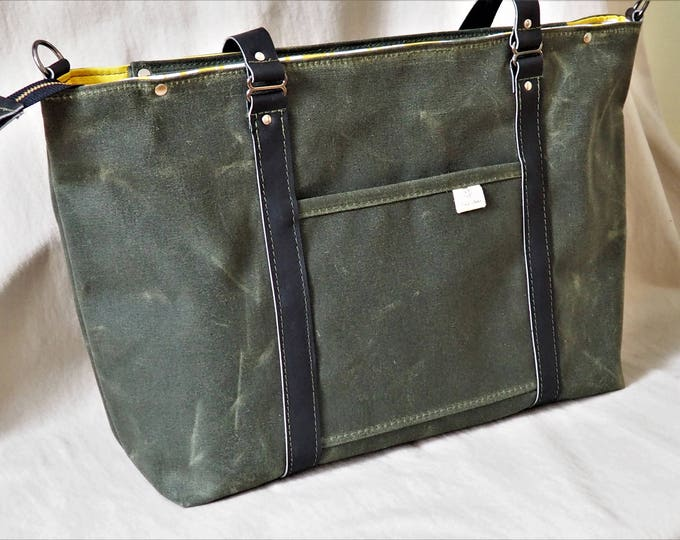 Waxed Canvas and Leather Diaper Bag / Ship in 3 Business Days / Yellow Elephant Cotton Twill Lining