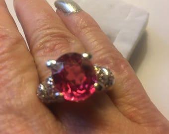 Stunning 6.80ct Pink Orange Sapphire Ring Size 7