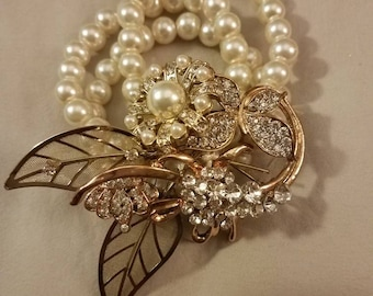 Pearl and gold brooch wrist corsage