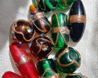 Vintage Venetian Glass Wedding Cake Beads