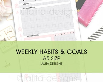 Filofax Kikki K Printable Weekly Habit and Goal Tracker Insert A5 Half Letter Size