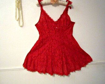 Red Lace Nightgown SizeXL, Babydoll Lingerie