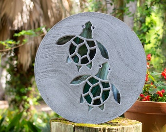Baby Sea Turtles Hatchlings Stained Glass Stepping Stone #837