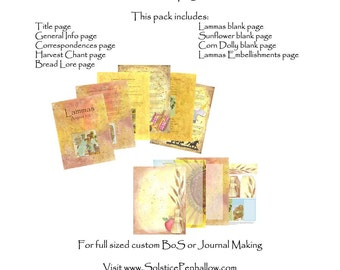 Lammas Book of Shadows Digital Printable Pages, Wicca, Pagan, Witch, Scrapbooking, Wichcraft, Magic